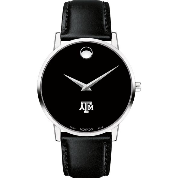 Texas A&M University Men's Movado Museum with Leather Strap - Image 2