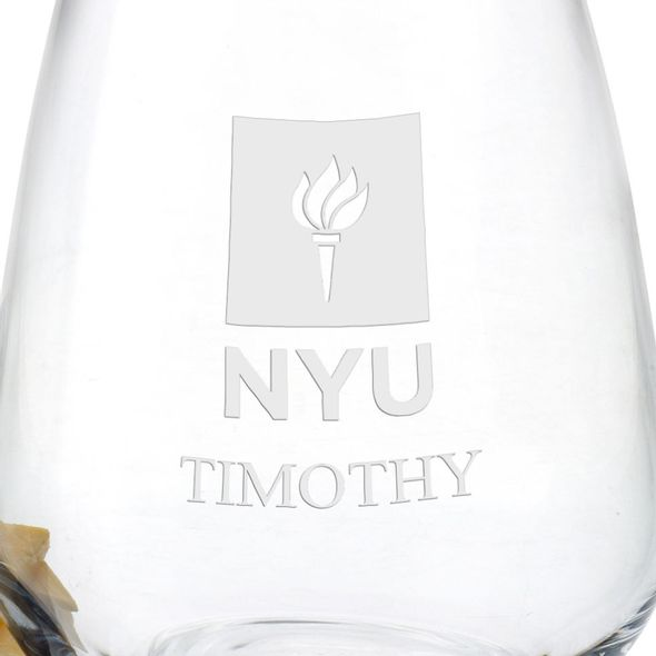 New York University Stemless Wine Glasses - Set of 2 - Image 3