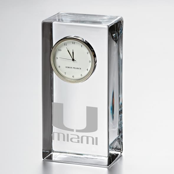 Miami Tall Glass Desk Clock by Simon Pearce - Image 1