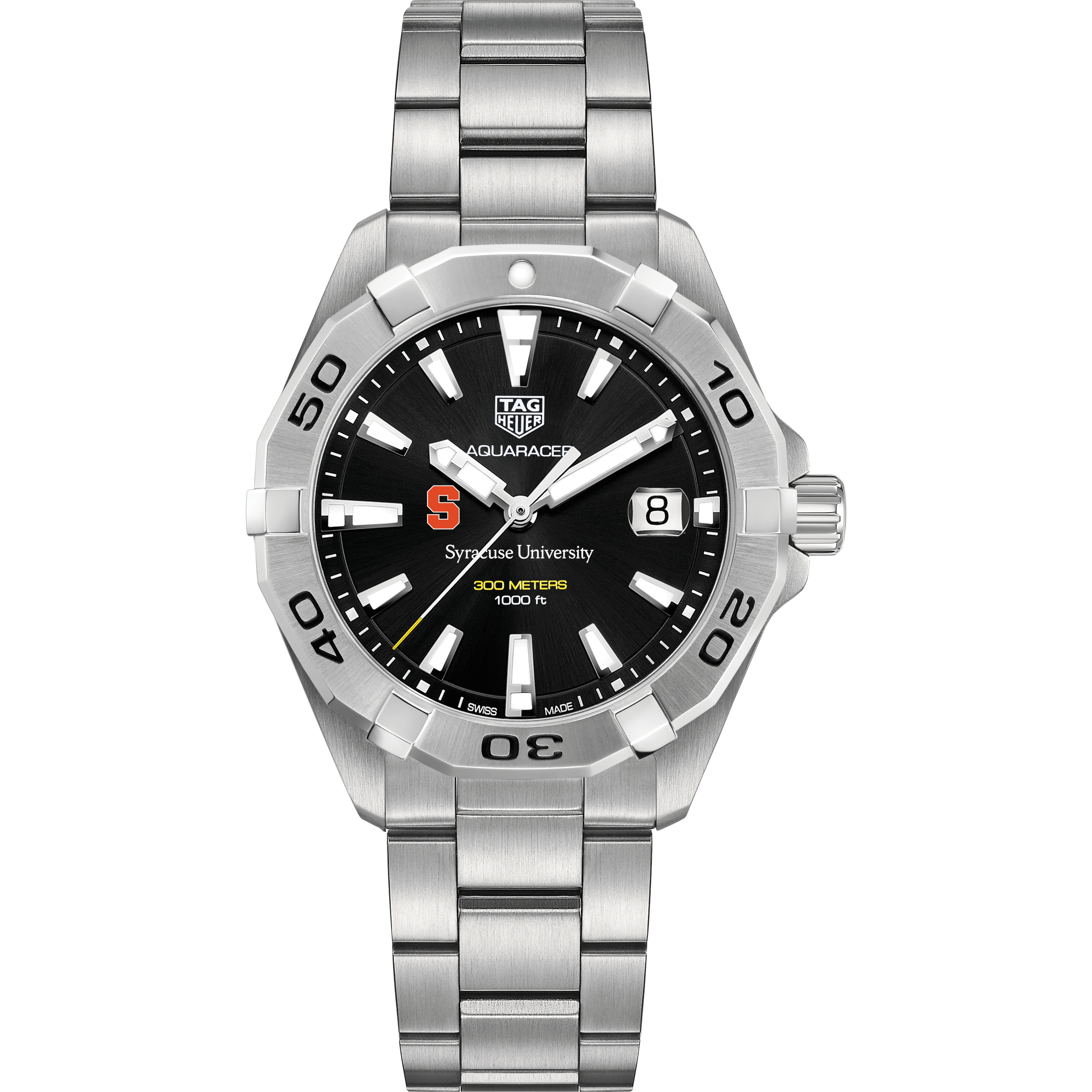 Syracuse University Men's TAG Heuer Steel Aquaracer with Black Dial - Image 2