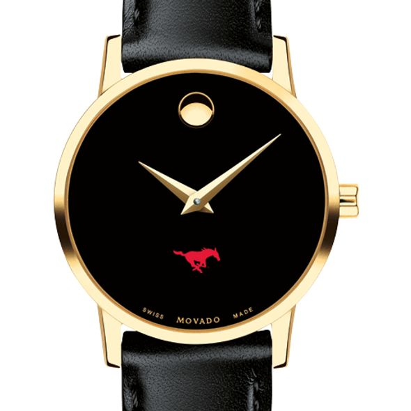 Southern Methodist University Women's Movado Gold Museum Classic Leather