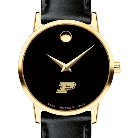 Purdue University Women's Movado Gold Museum Classic Leather