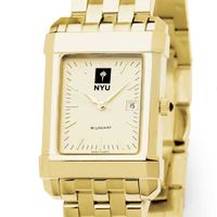 NYU Men's Gold Quad Watch with Bracelet