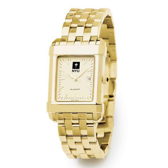 NYU Men's Gold Quad Watch with Bracelet - Image 2