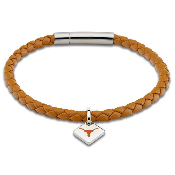 University of Texas Leather Bracelet with Sterling Silver Tag - Saddle