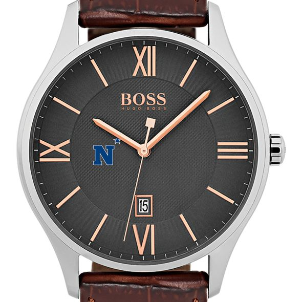 US Naval Academy Men's BOSS Classic with Leather Strap from M.LaHart