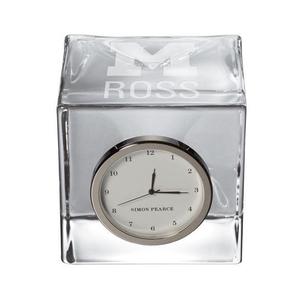 Michigan Ross Glass Desk Clock by Simon Pearce