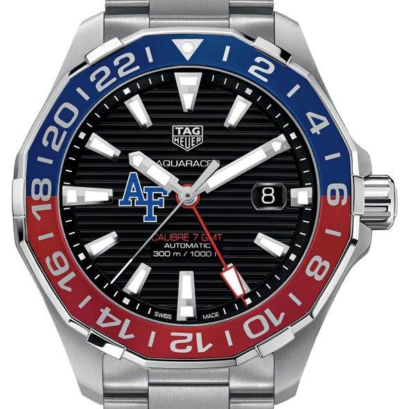 USAFA Men's TAG Heuer Automatic GMT Aquaracer with Black Dial and Blue & Red Bezel - Image 1