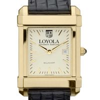 Loyola Men's Gold Quad with Leather Strap