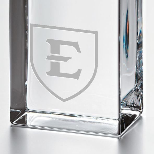 East Tennessee State University Tall Glass Desk Clock by Simon Pearce - Image 2