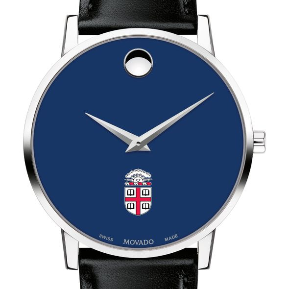 Brown University Men's Movado Museum with Blue Dial & Leather Strap