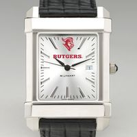 Rutgers University Men's Collegiate Watch with Leather Strap