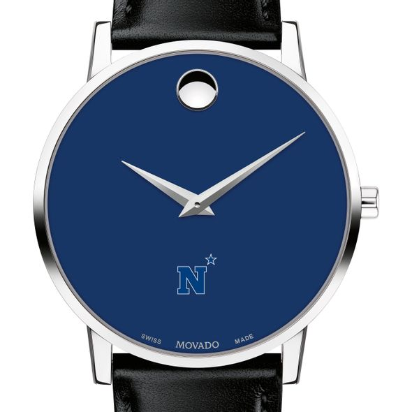 US Naval Academy Men's Movado Museum with Blue Dial & Leather Strap