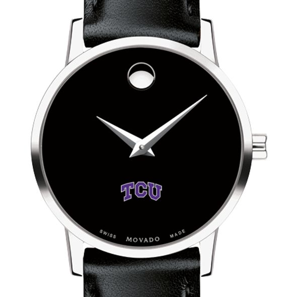 Texas Christian University Women's Movado Museum with Leather Strap