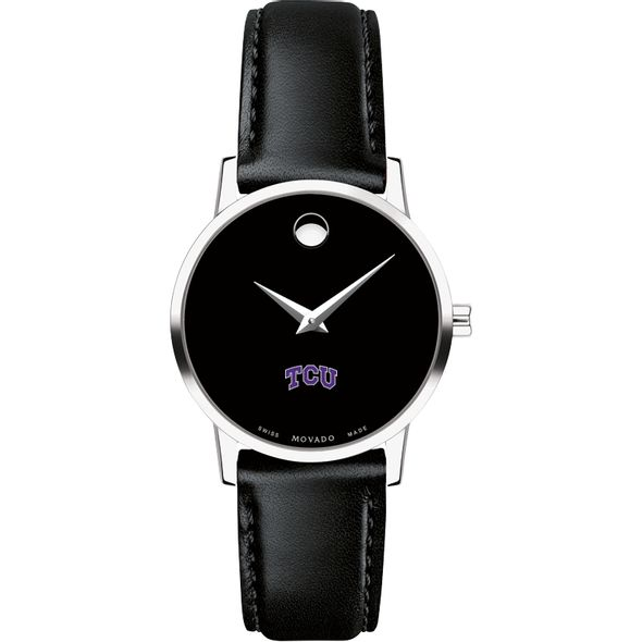 Texas Christian University Women's Movado Museum with Leather Strap - Image 2