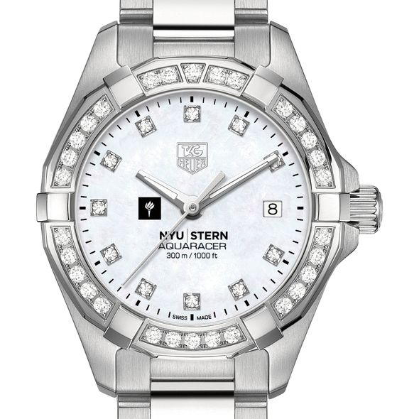 NYU Stern Women's TAG Heuer Steel Aquaracer with MOP Diamond Dial & Bezel