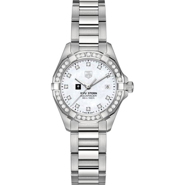 NYU Stern Women's TAG Heuer Steel Aquaracer with MOP Diamond Dial & Bezel - Image 2