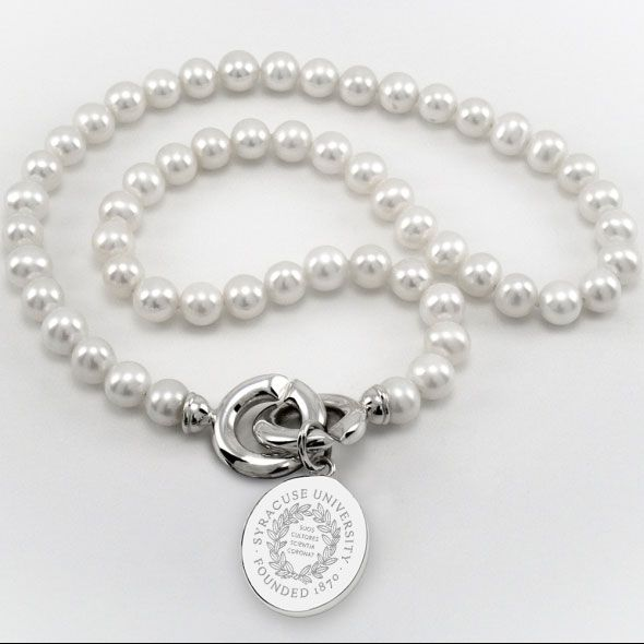 Syracuse University Pearl Necklace with Sterling Silver Charm
