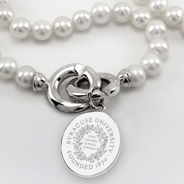 Syracuse University Pearl Necklace with Sterling Silver Charm - Image 2