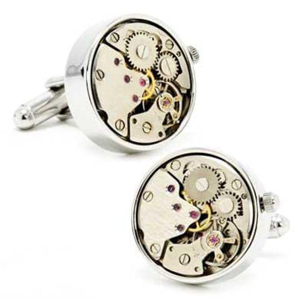 Wind-up Silver Watch Movement Cufflinks