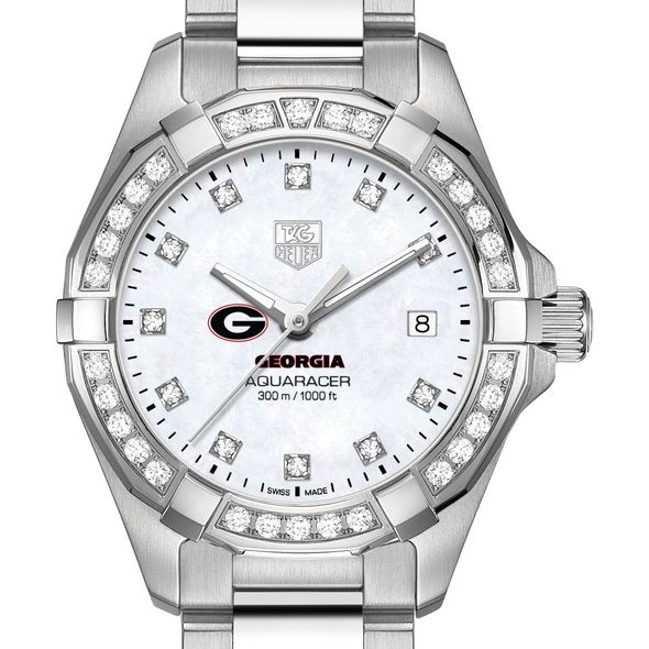 University of Georgia W's TAG Heuer Steel Aquaracer with MOP Dia Dial & Bezel
