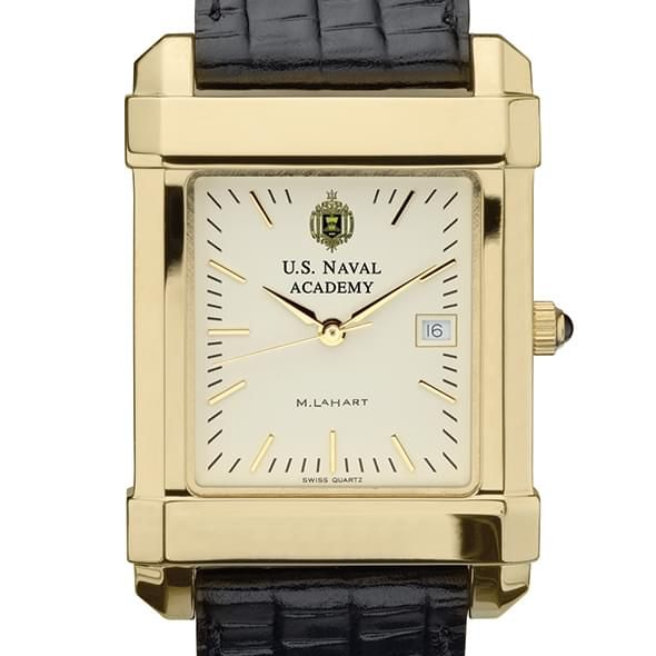 USNA Men's Gold Watch with Leather Strap