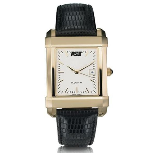 ASU Men's Gold Quad Watch with Leather Strap - Image 2