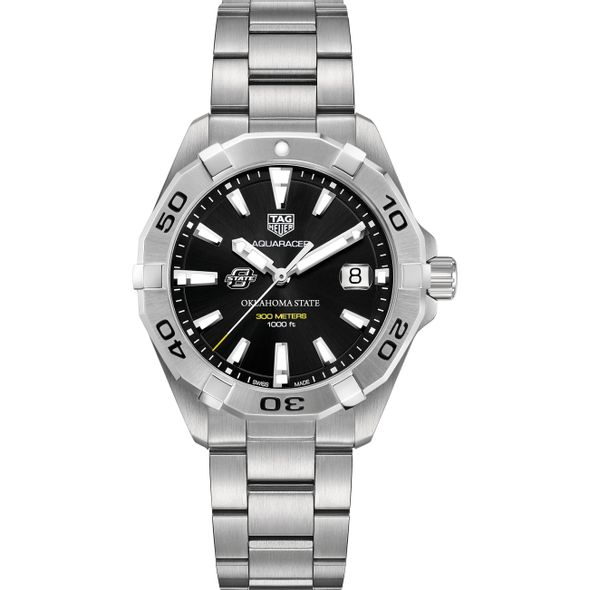 Oklahoma State University Men's TAG Heuer Steel Aquaracer with Black Dial - Image 2
