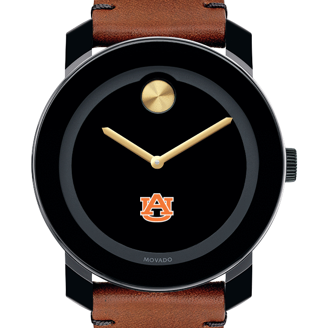 Auburn Men's Movado BOLD with Brown Leather Strap