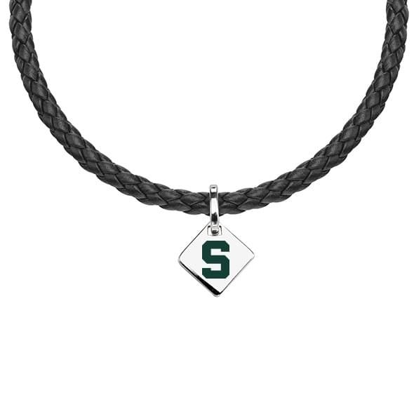 Michigan State Leather Necklace with Sterling Silver Tag - Image 1
