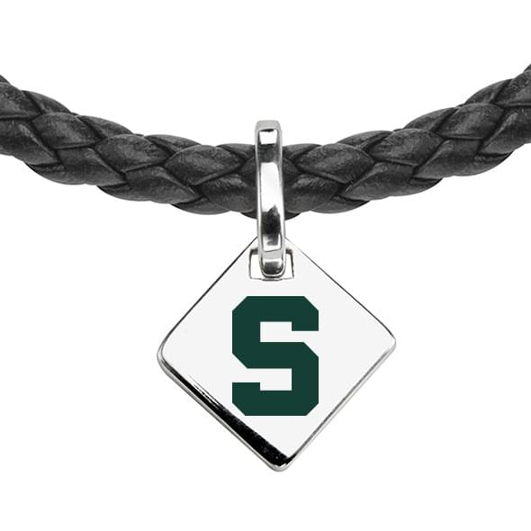 Michigan State Leather Necklace with Sterling Silver Tag - Image 2