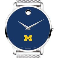University of Michigan Men's Movado Museum with Blue Dial & Mesh Bracelet