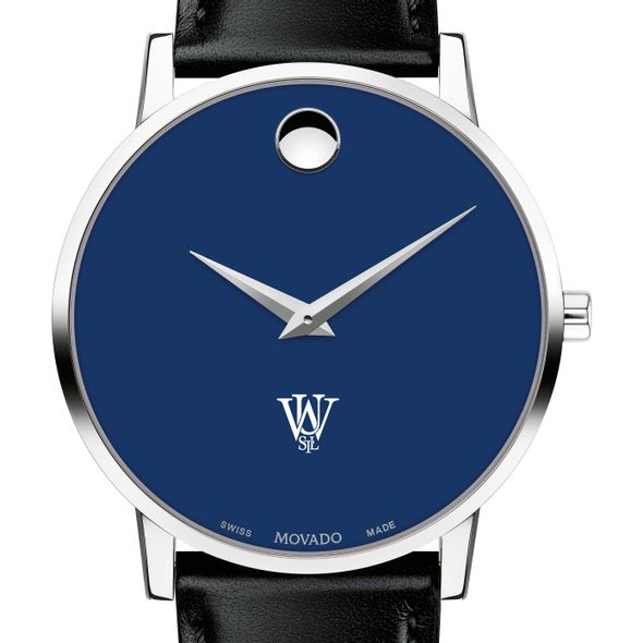 Washington University in St. Louis Men's Movado Museum with Blue Dial & Leather Strap