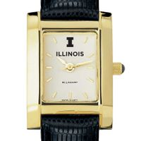 University of Illinois Women's Gold Quad with Leather Strap