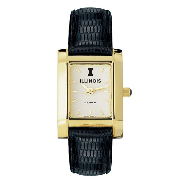 University of Illinois Women's Gold Quad with Leather Strap - Image 2