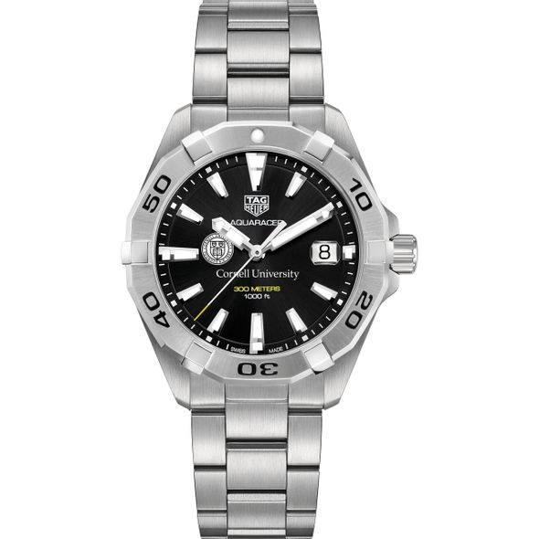 Cornell University Men's TAG Heuer Steel Aquaracer with Black Dial - Image 2