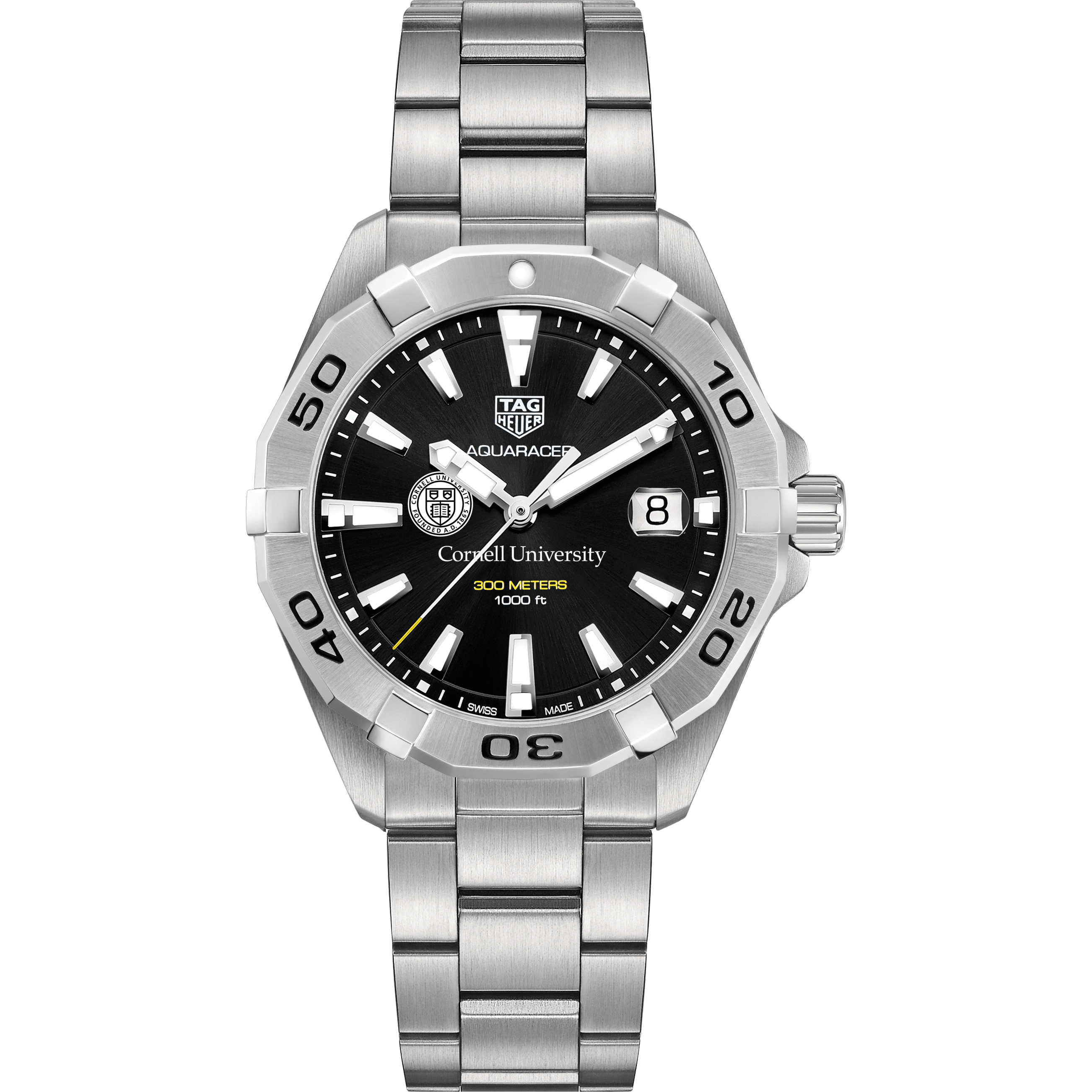 Cornell Men's TAG Heuer Steel Aquaracer with Black Dial - Image 2