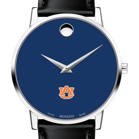 Auburn University Men's Movado Museum with Blue Dial & Leather Strap