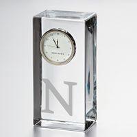 Northwestern Tall Glass Desk Clock by Simon Pearce