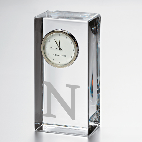 Northwestern Tall Glass Desk Clock by Simon Pearce