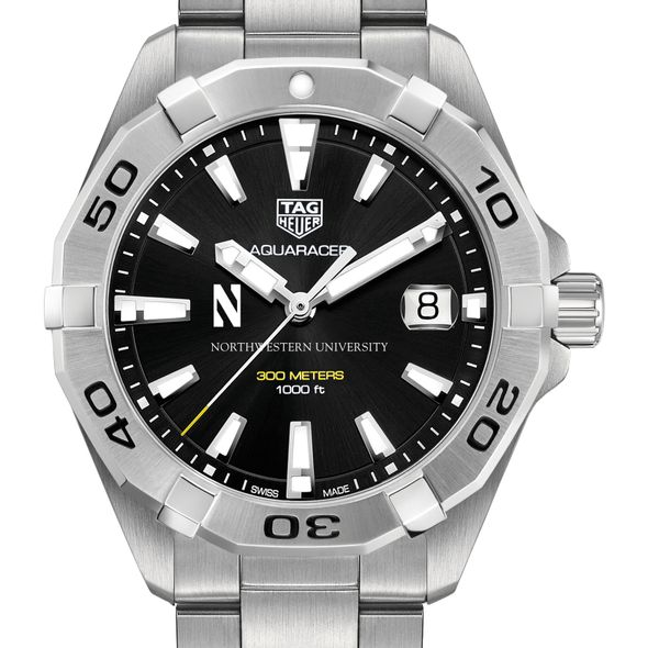 Northwestern University Men's TAG Heuer Steel Aquaracer with Black Dial