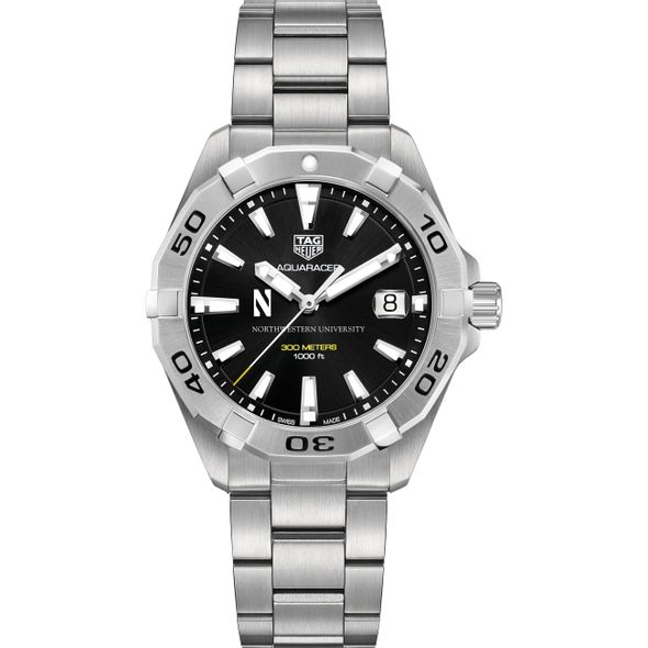 Northwestern University Men's TAG Heuer Steel Aquaracer with Black Dial - Image 2