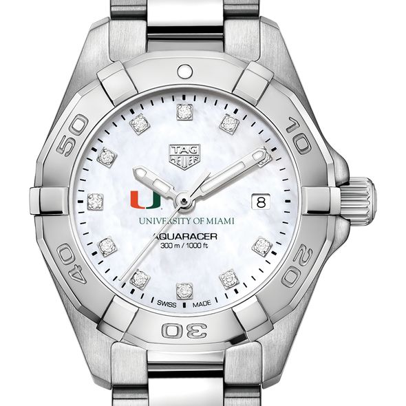 University of Miami W's TAG Heuer Steel Aquaracer w MOP Dia Dial