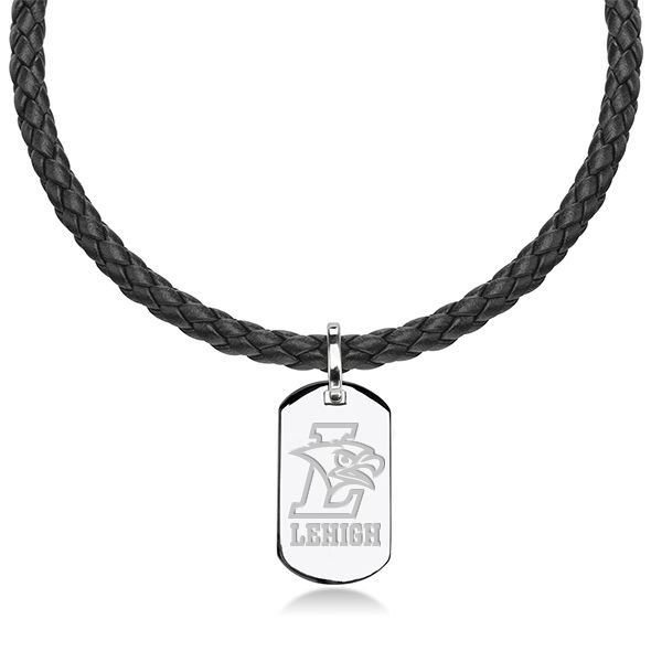 Lehigh University Leather Necklace with Sterling Dog Tag