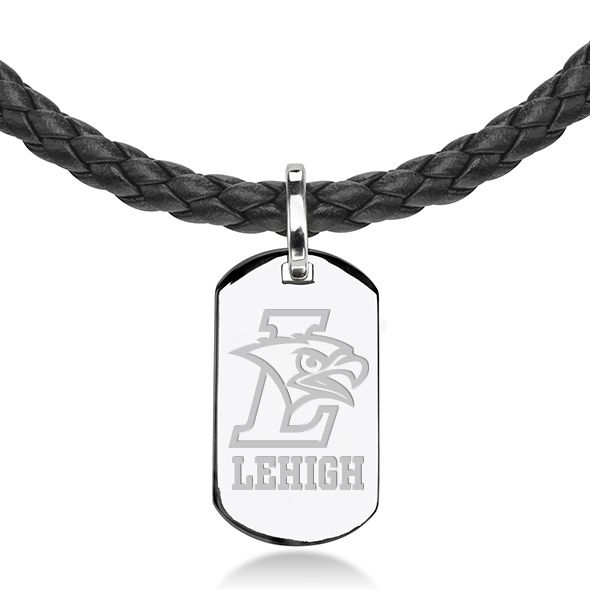 Lehigh University Leather Necklace with Sterling Dog Tag - Image 2