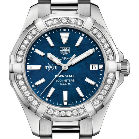 Iowa State Women's TAG Heuer 35mm Steel Aquaracer with Blue Dial
