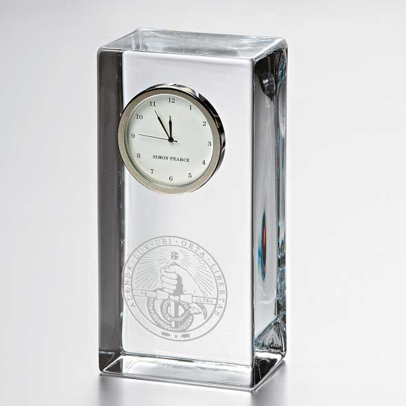 Davidson College Tall Glass Desk Clock by Simon Pearce