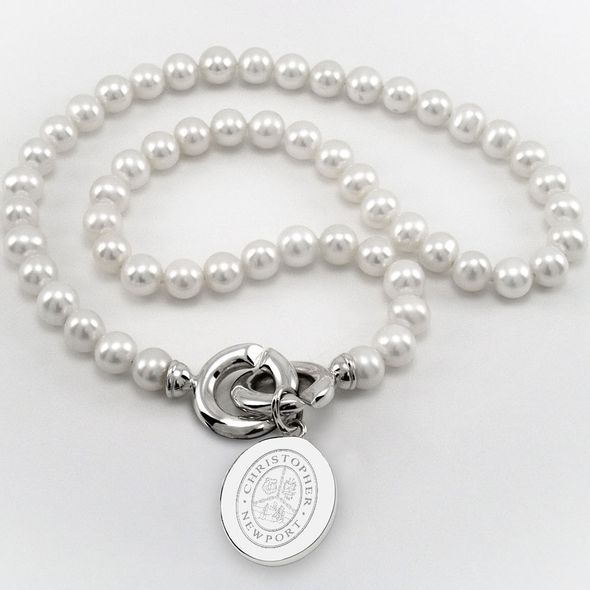 Christopher Newport University Pearl Necklace with Sterling Silver Charm