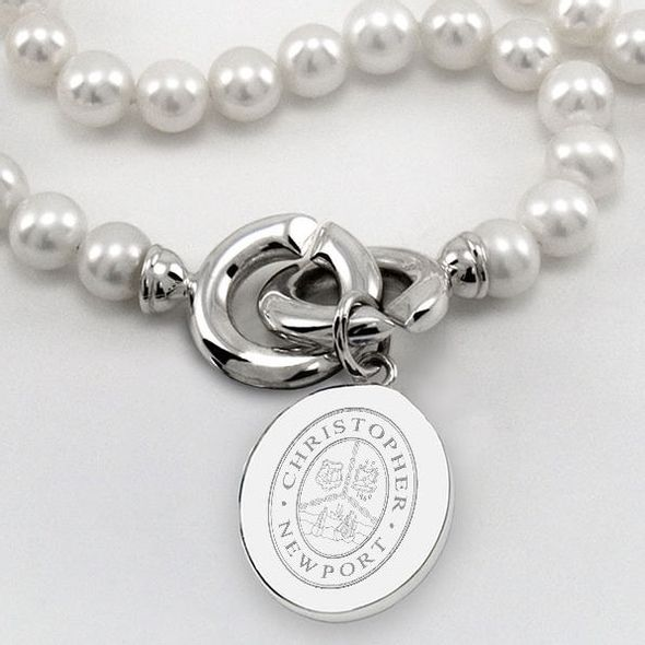 Christopher Newport University Pearl Necklace with Sterling Silver Charm - Image 2