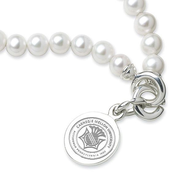 Carnegie Mellon University Pearl Bracelet with Sterling Silver Charm - Image 2